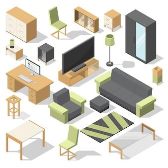 Conjunto de móveis para quarto de cama. elementos isométricos de vetor para casa moderna
