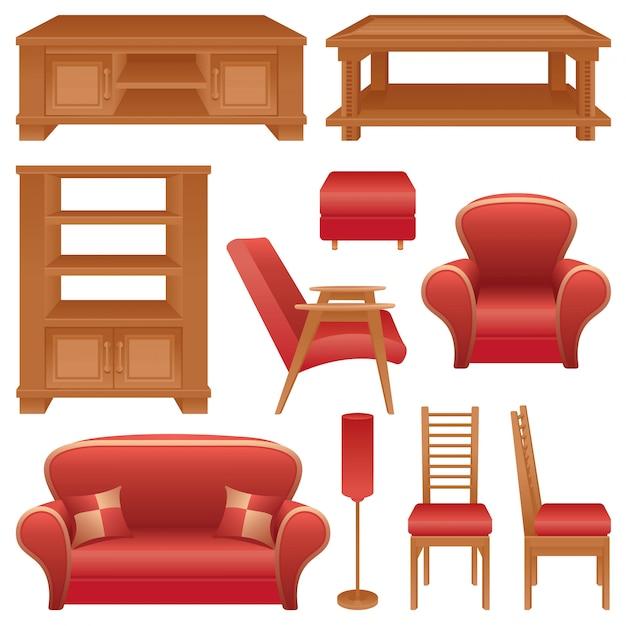 Conjunto de móveis para uma sala de estar