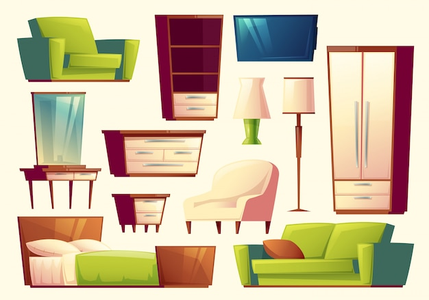 Conjunto de móveis - sofá, cama, armário, poltrona, torchere, aparelho de tv, guarda-roupa