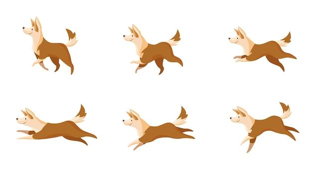 Conjunto de movimentos de cães rápidos ou lentos