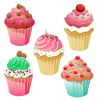 Conjunto de muffin cupcake doce