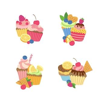 Conjunto de muffins ou cupcakes bonito dos desenhos animados