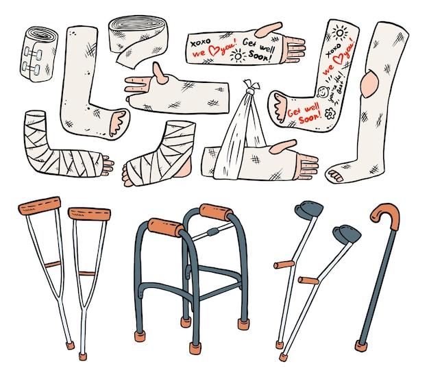 Conjunto de muletas para deficientes físicos com pernas quebradas