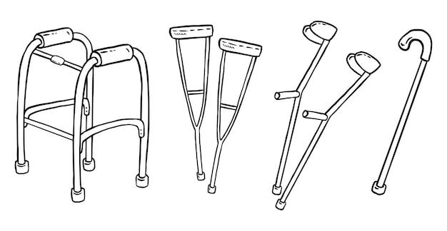 Conjunto de muletas para pessoas com deficiência. coleção de símbolos de apoio para caminhar