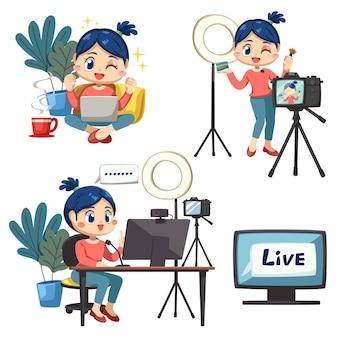 Conjunto de mulher adorável blogueira usando laptop e computador desktop trabalhando em casa em personagem de desenho animado e emoção diferença, ilustração vetorial isolada
