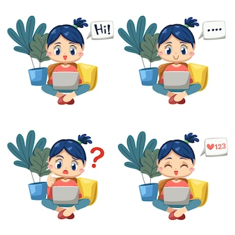Conjunto de mulher adorável sentada e usando o computador laptop trabalhando em casa em um personagem de desenho animado e emoção diferença, ilustração vetorial
