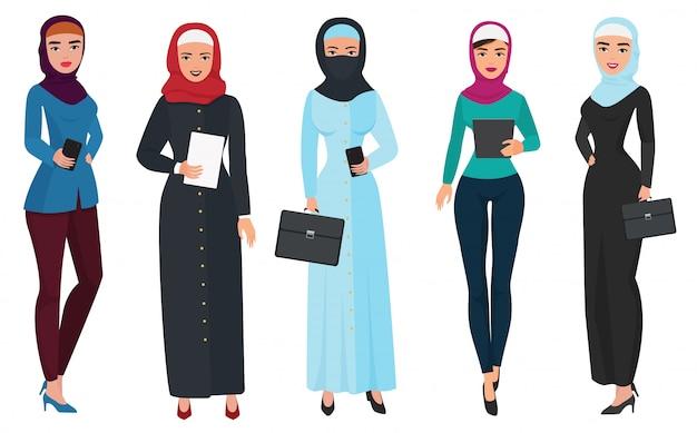 Conjunto de mulher árabe de negócios