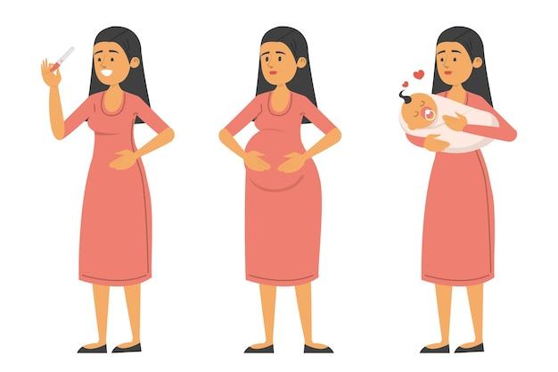 Conjunto de mulher com teste positivo, durante a gravidez e com o bebê