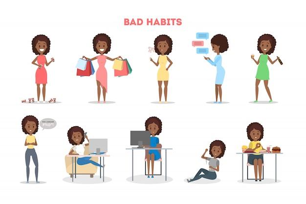 Conjunto de mulher com um mau hábito. dependência de álcool e café, comer junk food e jogar. estilo de vida saudável e perigo para a vida. ilustração