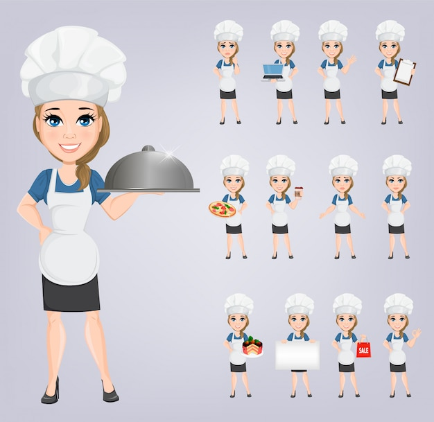 Conjunto de mulher de chef. cozinheiro de personagem de desenho bonito