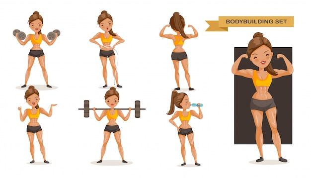Conjunto de mulher de musculação. muitas visões de exercício.