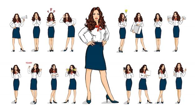 Conjunto de mulher de negócios em várias poses, gerente de trabalhador de personagens de quadrinhos de coleção estilo isolado.