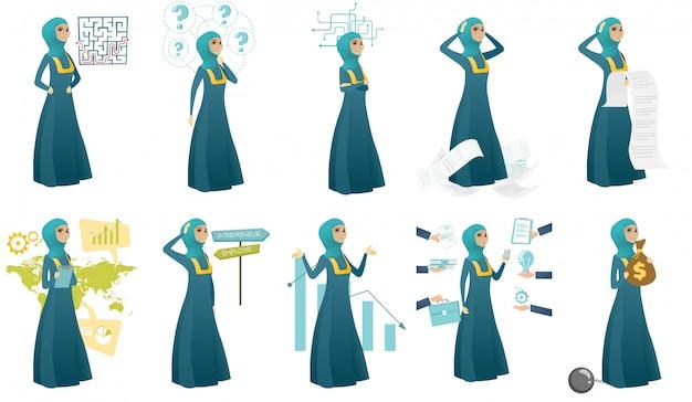 Conjunto de mulher de negócios muçulmano