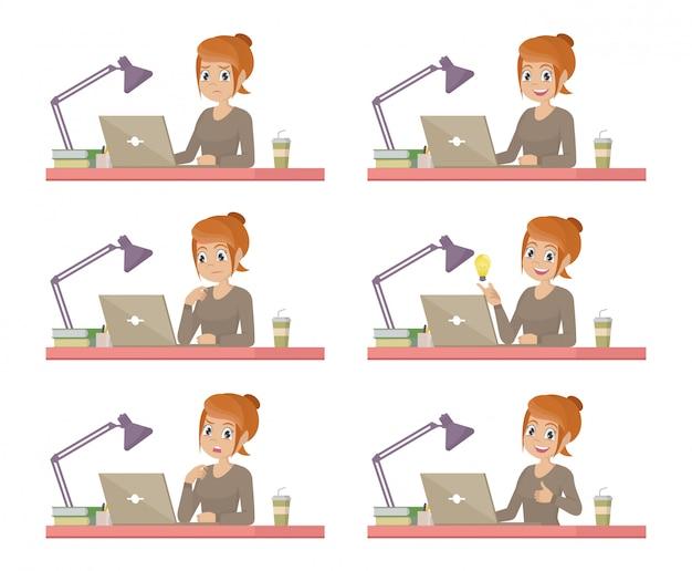 Conjunto de mulher de negócios na recepção está trabalhando no computador portátil