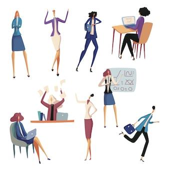 Conjunto de mulher de negócios no escritório. ilustração.