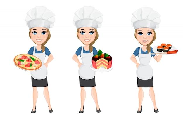 Conjunto de mulher do chef. cozinheiro de personagem bonito dos desenhos animados