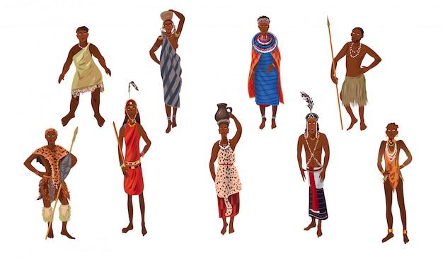 Conjunto de mulher e homem aborígene do continente ensolarado de áfrica