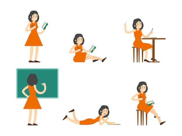 Conjunto de mulher estudando plana