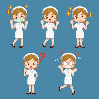 Conjunto de mulher feliz em uniforme de enfermeira com atuação diferente em personagem de desenho animado, ilustração plana isolada