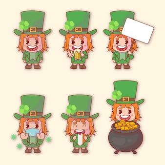 Conjunto de mulher feliz st. personagem do dia de patrick com muitas expressões de gestos.