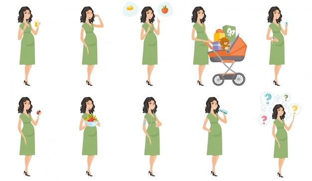 Conjunto de mulher grávida caucasiana