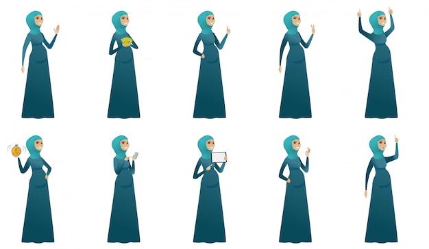 Conjunto de mulher grávida muçulmana