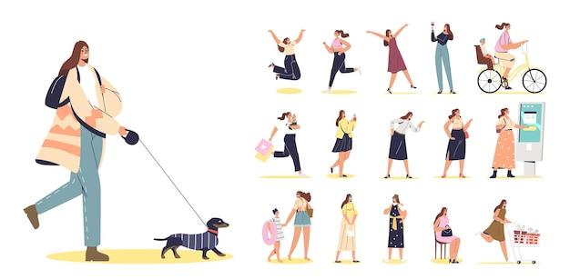Conjunto de mulher jovem caminhando com o cachorro em poses e situações de estilo de vida diferentes: salto animado, corrida, usando o painel terminal touchscreen, com crianças, nas compras. ilustração vetorial plana
