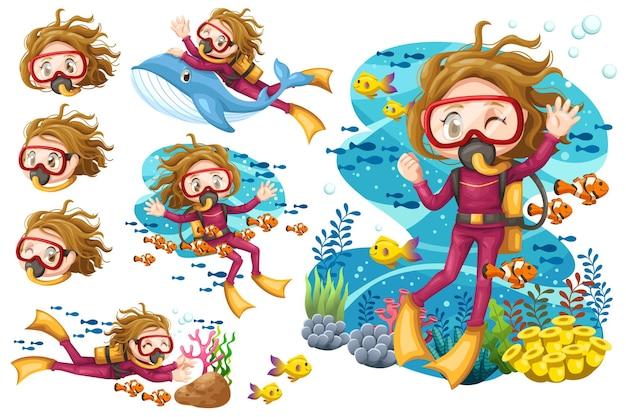 Conjunto de mulher jovem em terno de mergulhador com óculos de proteção no fundo do mar