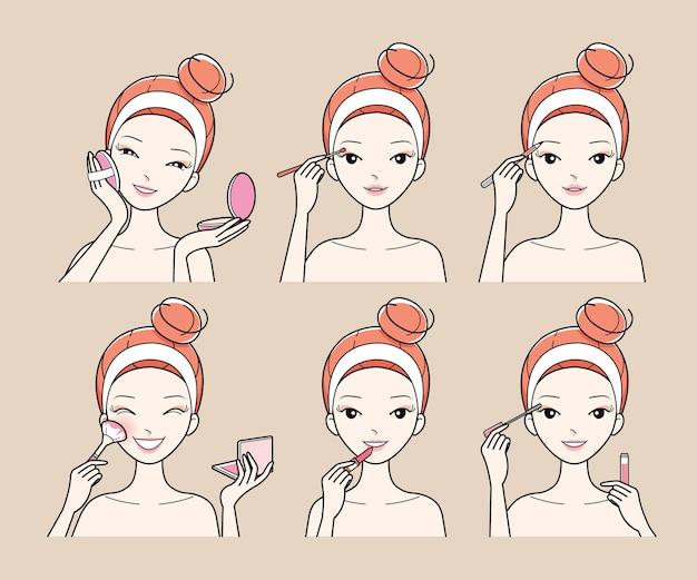 Conjunto de mulher jovem maquiar o rosto com cosméticos