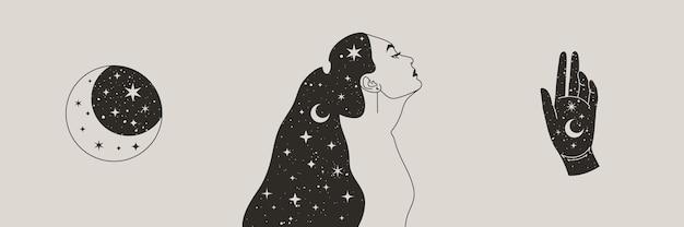 Conjunto de mulher mística e lua, estrelas e mão em um estilo boho moderno. vector space portrait of a girl in profile para impressão de parede, t-shirt, desenho de tatuagem, para postagem em mídia social e histórias