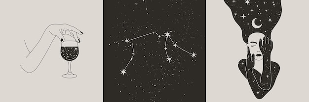 Conjunto de mulher mística e lua, estrelas, mãos com um copo de vinho, constelações de aquário no estilo boho. ilustrações vetoriais para arte em paredes e impressão de camisetas, tatuagem, publicações em mídias sociais e histórias