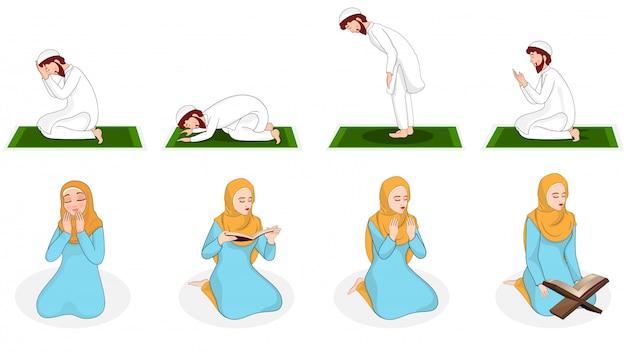 Conjunto de mulher muçulmana e homem rezando em posição diferente.