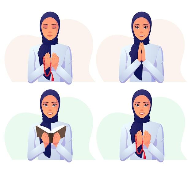 Conjunto de mulher muçulmana usando vestido branco com hijab azul