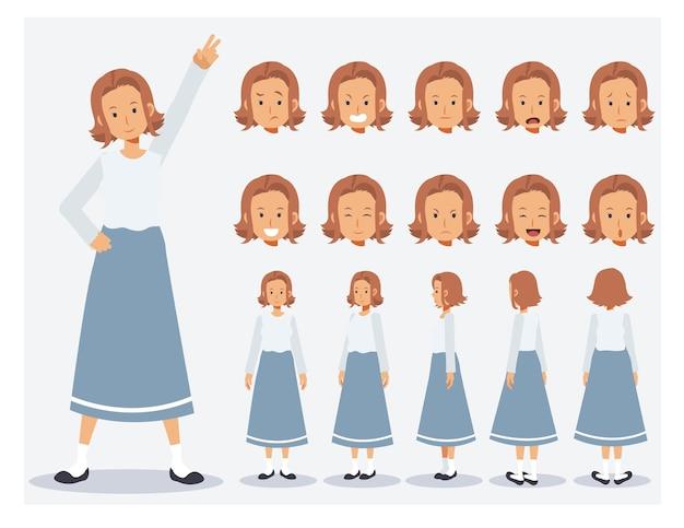 Conjunto de mulher plana vector character usar roupas casuais com vários pontos de vista, estilo cartoon.