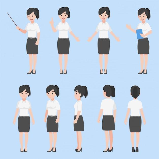 Conjunto de mulher professora em várias ações conceito de educação plana dos desenhos animados.