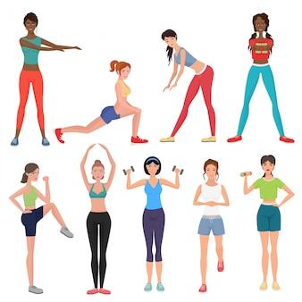 Conjunto de mulher saudável de fitness esporte