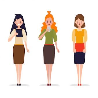 Conjunto de mulher trabalhadora em pose diferente.