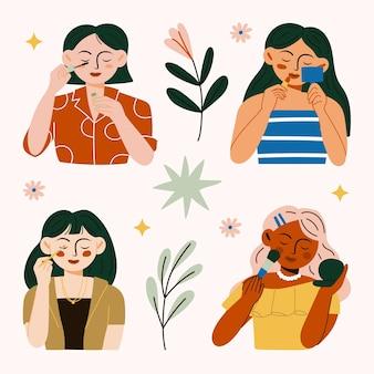 Conjunto de mulher usando maquiagem cosmética, sombra bonita, rímel nos cílios, aplicação de batom vermelho nos lábios e pó de maquiagem ilustração.