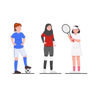 Conjunto de mulheres atheletes ilustração vetorial cartoon plana