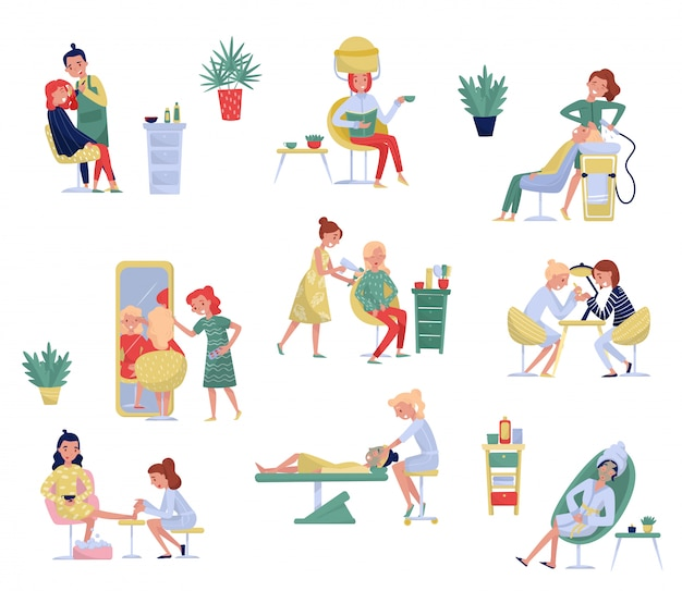 Conjunto de mulheres bonitas no salão de beleza, meninas, desfrutando de procedimentos cosméticos de cabelo e cuidados de pele ilustrações sobre um fundo branco