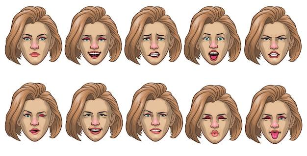 Conjunto de mulheres brancas com várias expressões faciais