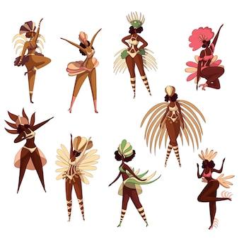 Conjunto de mulheres brasileiras em ação de dança. dançarinos de samba. garotas latinas. festival do brasil. personagens de desenhos animados