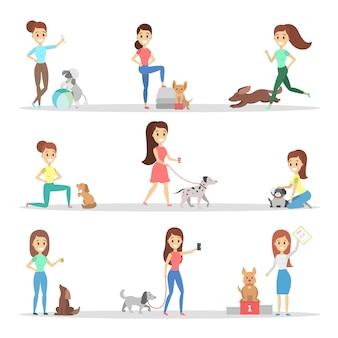 Conjunto de mulheres com cães. pessoas felizes e sorridentes.