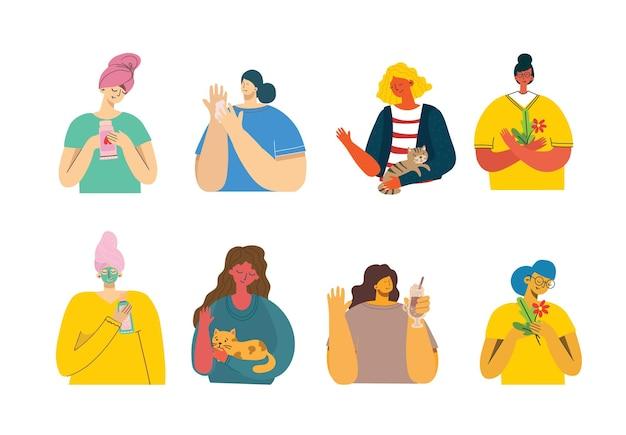 Conjunto de mulheres com coisas diferentes.