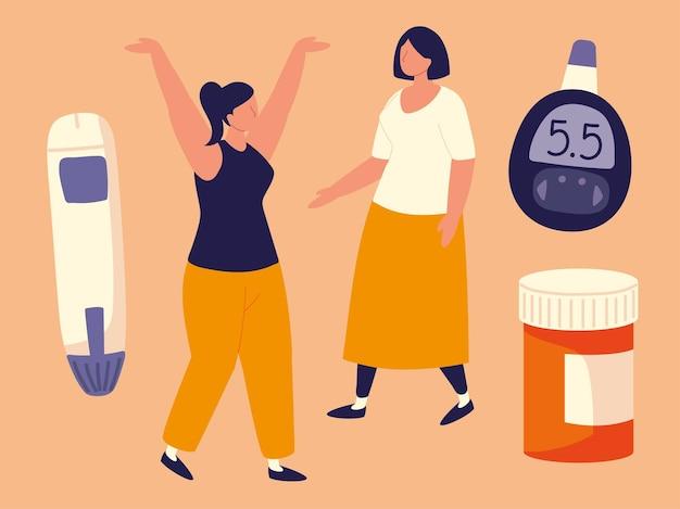 Conjunto de mulheres com diabetes
