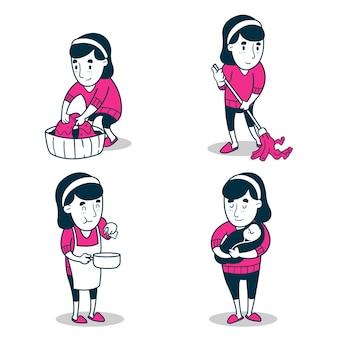 Conjunto de mulheres com emprego de dona de casa