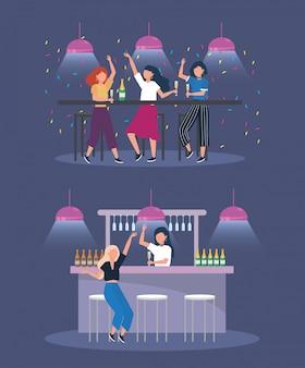 Conjunto de mulheres com luzes e garrafas de champanhe