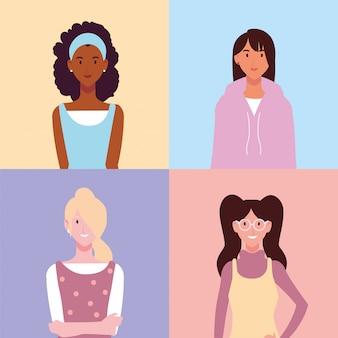 Conjunto de mulheres com poses diferentes