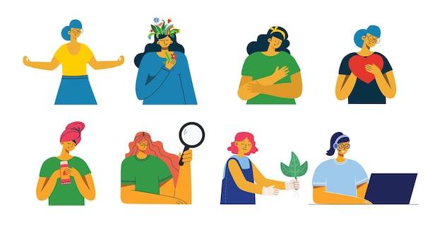 Conjunto de mulheres com sinais diferentes - reserve, trabalhe no laptop, pesquise com lupa, comunique-se.