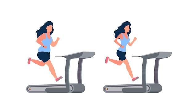 Conjunto de mulheres correndo no simulador. garota gorda corre em uma esteira.